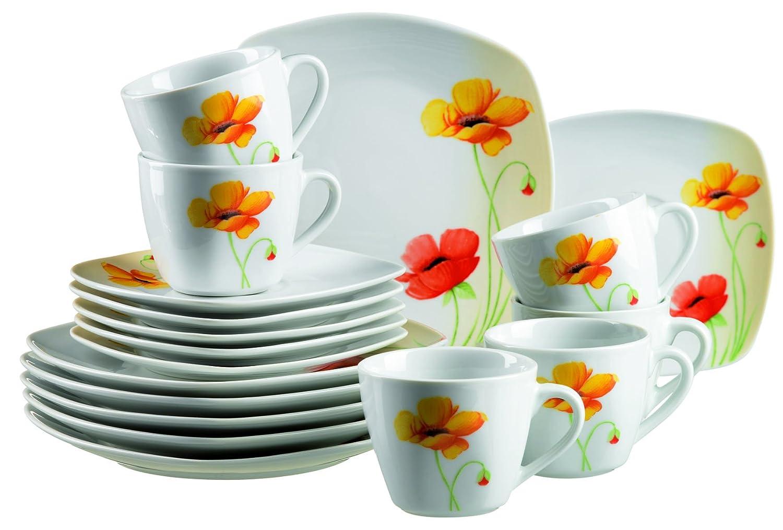 Porzellan mit Blumendekor M/äser Geschirrset f/ür 6 Personen Serie Papavero Tafelservice 12-teilig