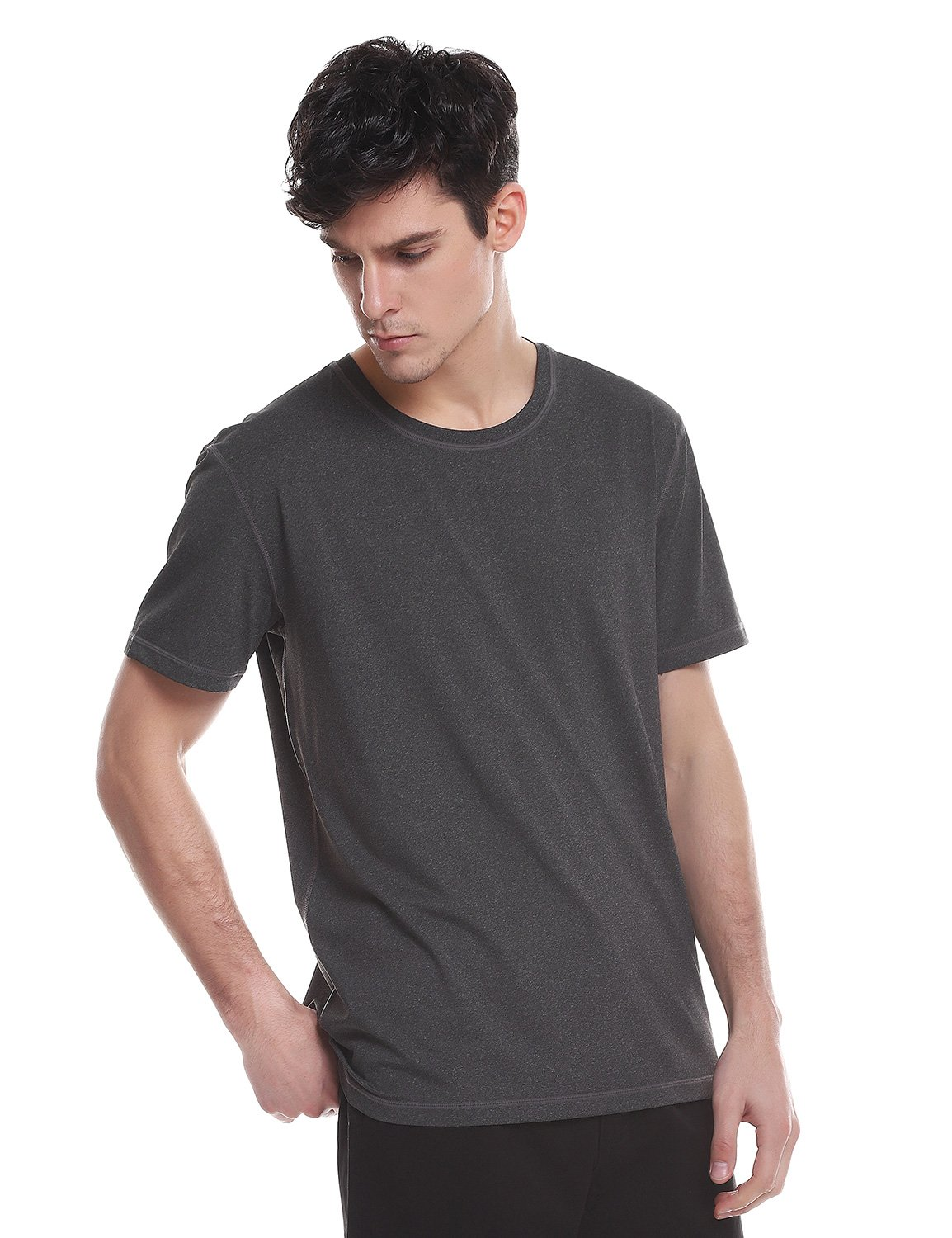 ZAN.STYLE Men Short Sleeve Crew Neck Tee Shirt Quick Dry Moisture Wicking Athletic Fit T Shirt Tops, Charcoal Gray, XX-Large