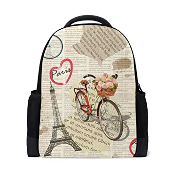a39c1a30ea75 Amazon.com: TropicalLife Retro Paris Eiffel Tower Bicycle Backpacks ...