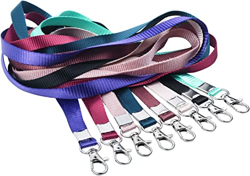 Camera Whistle Neck Lanyards for ID Badge Holder Durable Flat Nylon Lanyard Strap with Stainless Swivel Hook for Name Tag Badge Holders USB Flash Drive Keychains 8 Pack,Black Cellphone