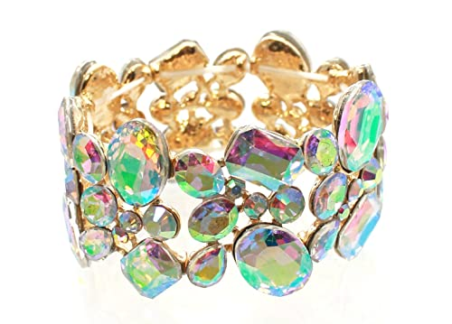 8e2cfe1a448 Carole Fay Jewelry AB on Gold Stretch Bracelet, fits Almost Every Wrist!  Perfect for Both Prom and Pageant, as Well as Any Special Occasion!:
