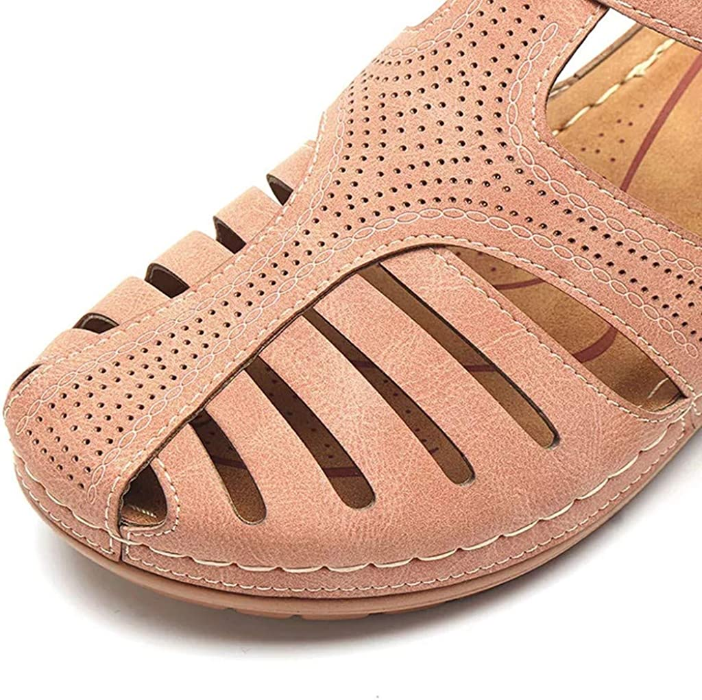 LIUguoo Summer Womens Beach Wedge Sandals Bohemia Flip-Flop Ankle Strap Casual Retro Gladiator Outdoor Shoes
