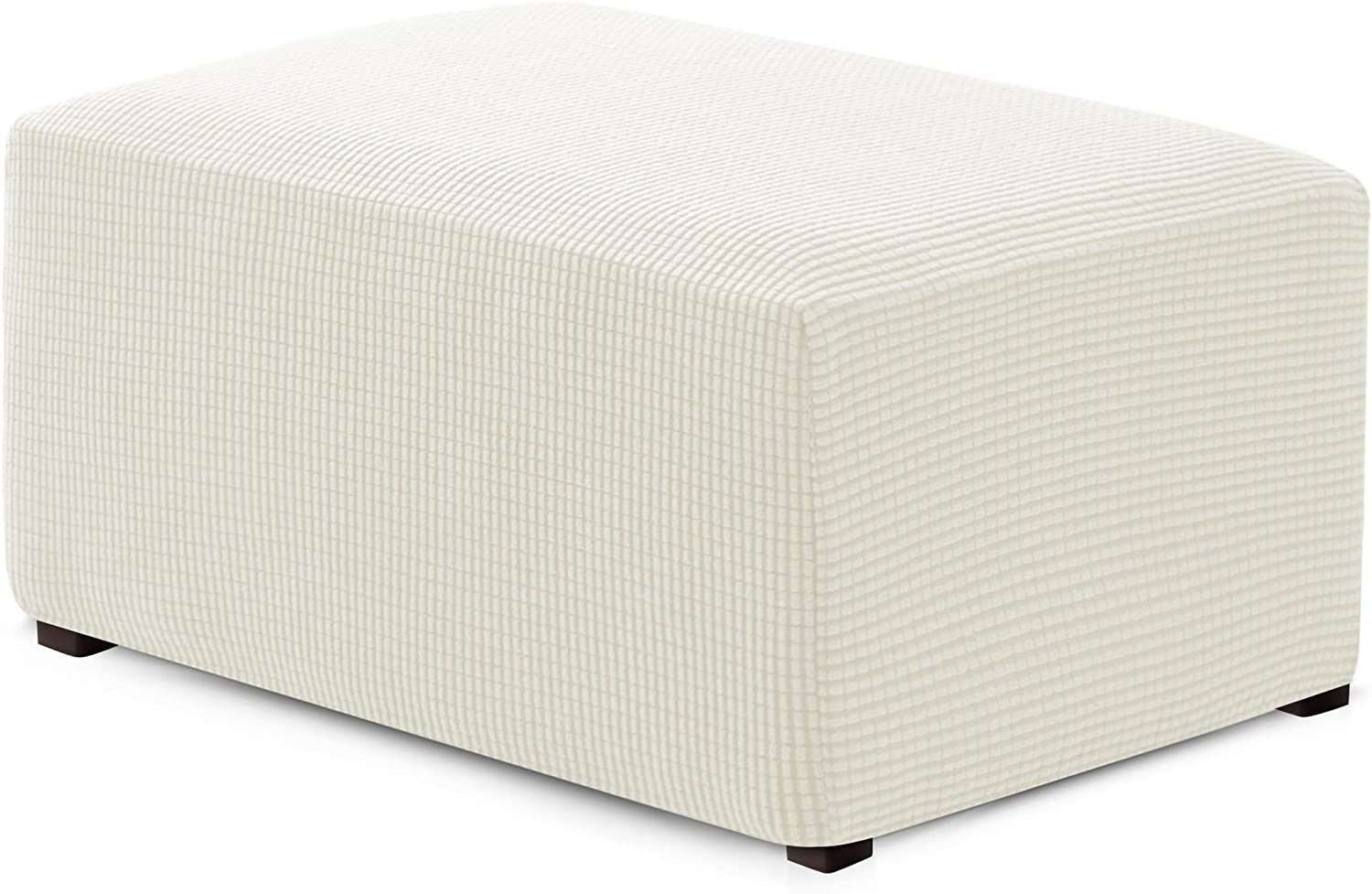 Hokway Ottoman Slipcovers Stretchable Foot Rest Sofa Slipcovers Footstool Covers Storage Ottoman Covers(Off-White, Oversize)