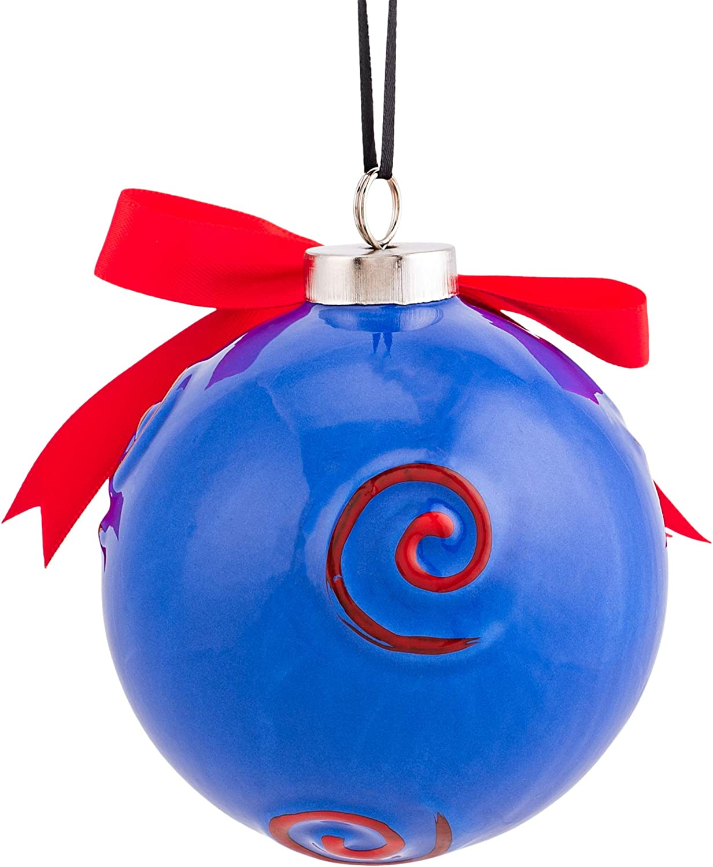 Seasons Designs NCAA Official Fan Gear Ole Miss Rebels Logo Swirl Navy Blue 4 x 4 Ceramic Christmas Decorative Ball Ornament