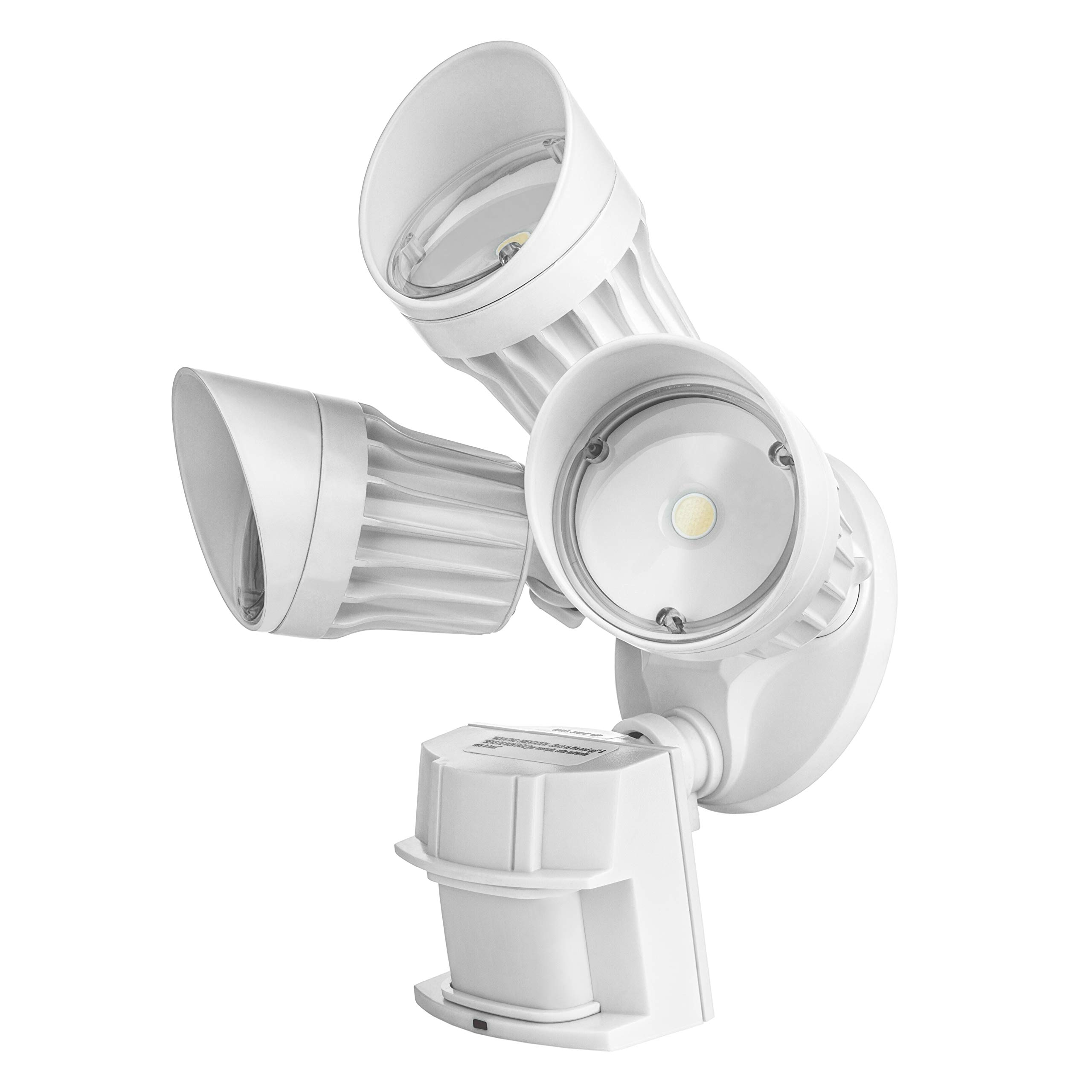 Hyperikon LED Outdoor Security Flood Light with Motion Sensor, 30W, 3 Head, White, LED Motion Light, Garage, Front Yard 5000K