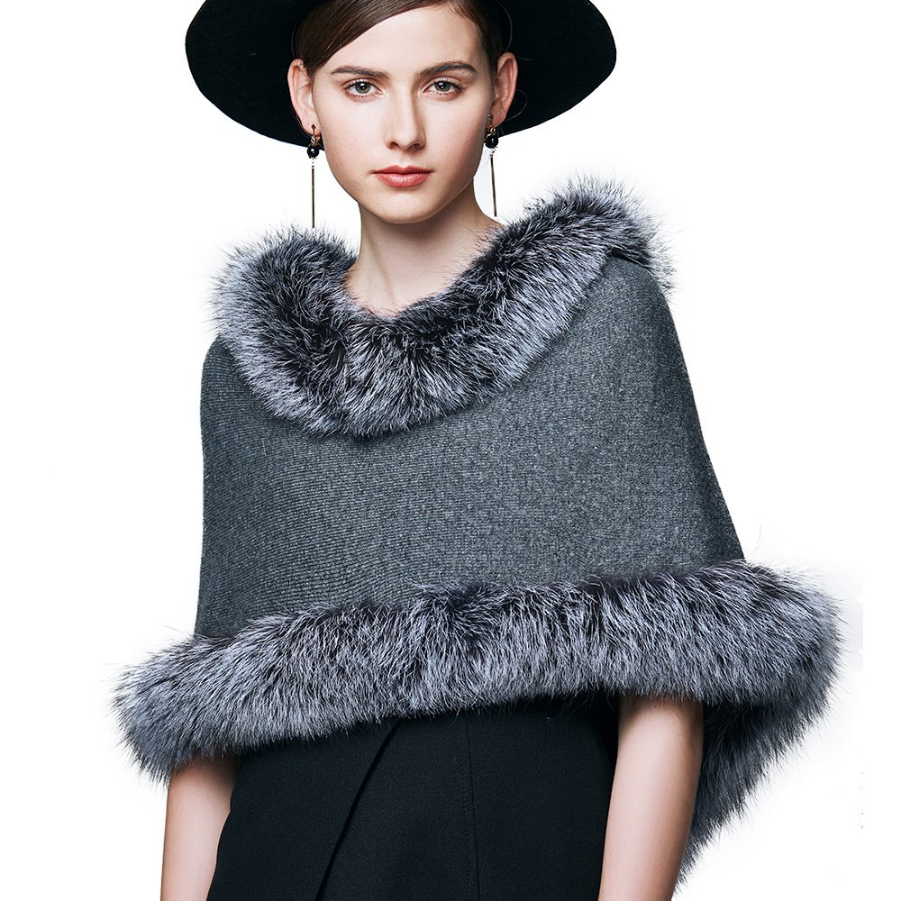 Womens Winter Real Silver Fox Fur Shawl Cashmere Wrap Stole Shrug Women Fur Coat