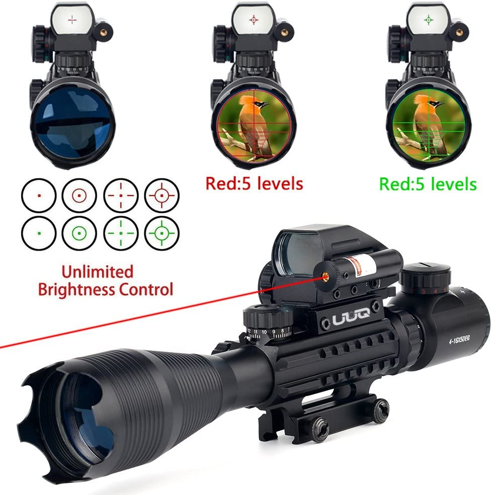 UUQ 4-16×50 Tactical Rifle Scope Red Green Illuminated Range Finder Reticle W RED Green Laser Sight and Holographic Reflex Dot Sight 4-16X50 Red Laser