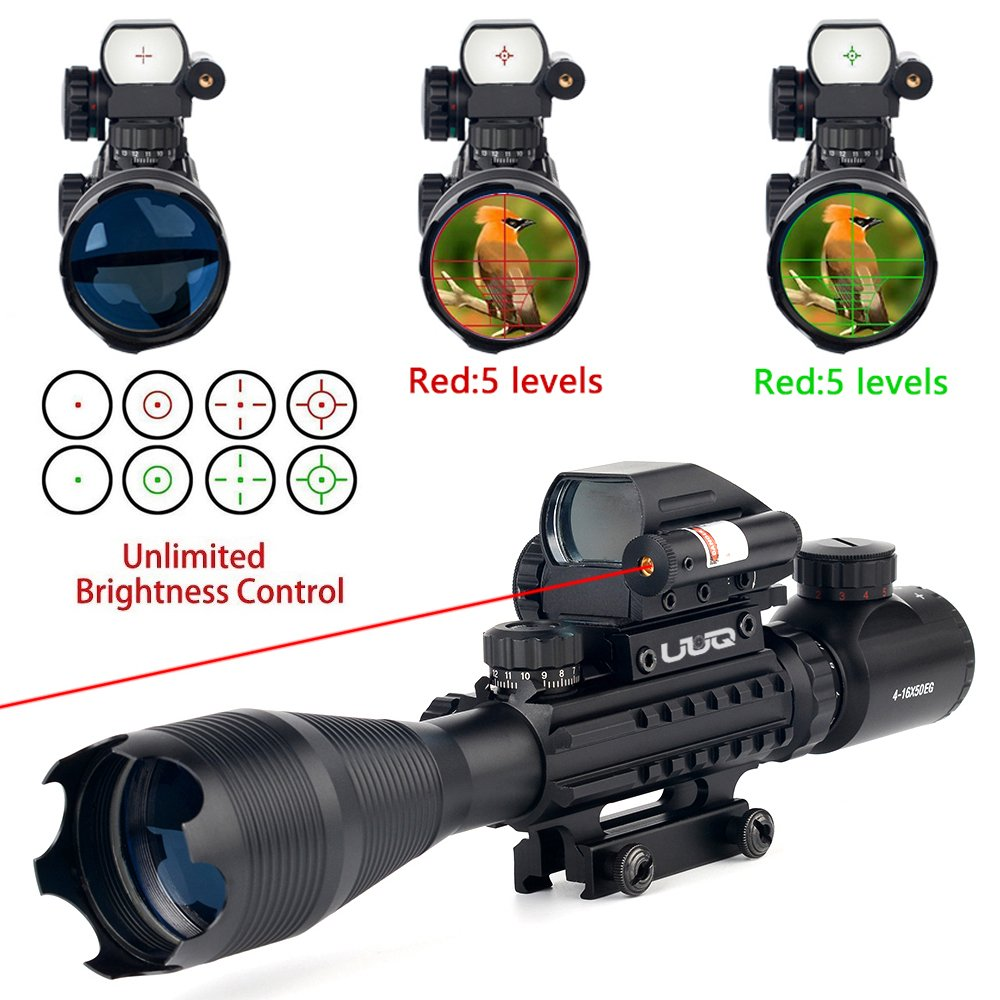 UUQ 4-16x50 Tactical Rifle Scope Red/Green Illuminated Range Finder Reticle W/ Integrated Red Laser Holographic Dot Sight (12 Month Guarantee) by UUQ