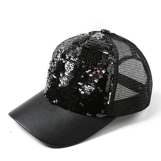 LONIY 2019 New Sequins Paillette Bling Shinning Mesh Baseball Cap Striking Pretty Adjustable Women Man Hats