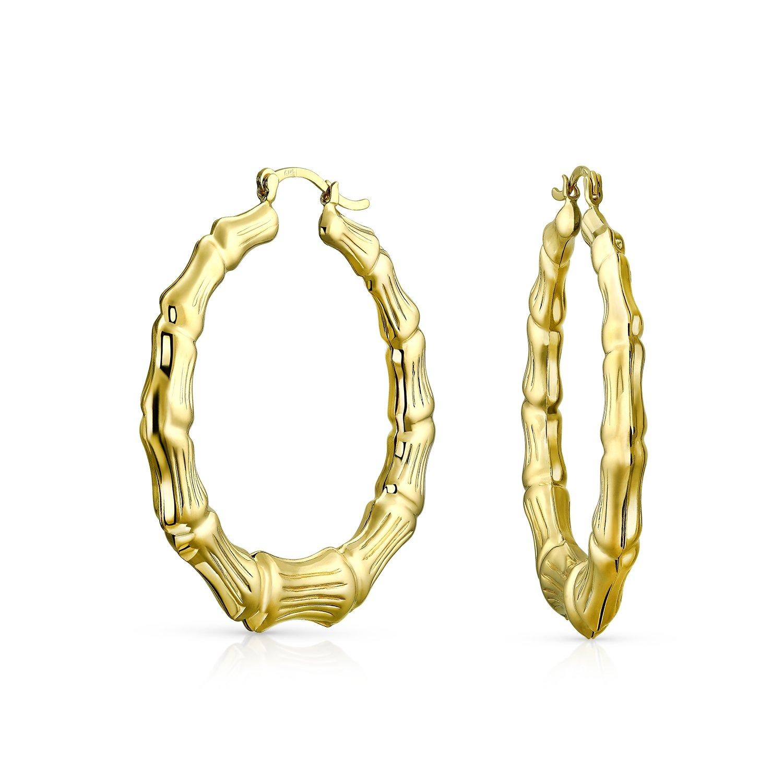 Bling Jewelry Bamboo Gold filled Hoop Earrings 2.25in PK-R-0815-2-BJ