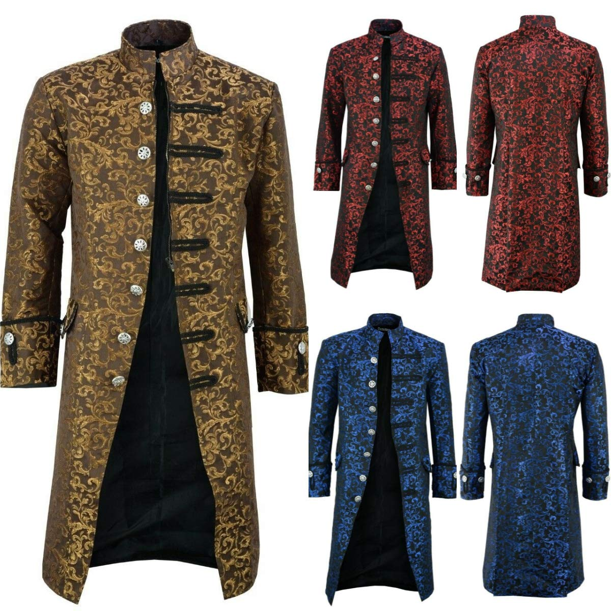 VERNASSA Costume da Uomo Cappotto Giacca Jacquard Steampunk Vittoriano Pirata Gotico Cosplay Abito Medievale di Halloween S-5XL