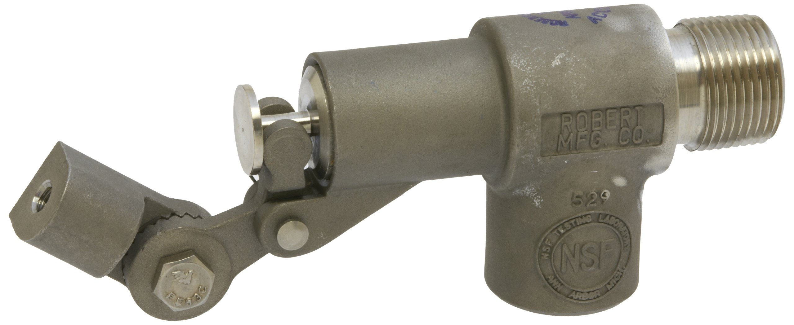 Robert Manufacturing R1361 Series Bob 316 Stainless Steel Float Valve Assembly with Stem, PTFE Disc and Cup, 3/4'' NPT Male Inlet x 3/4'' NPT Female Outlet, 85 psi Pressure