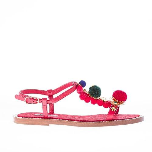DOLCE GABBANA scarpe donna sandalo pelle ROSSO pompon decorazioni metallo