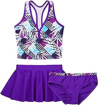 LiiYii Kids Girls Halter Tankini Set Casual Beachwear Tank Tops with Tutu Skirt Bottoms Bamboo Printed Swimsuit