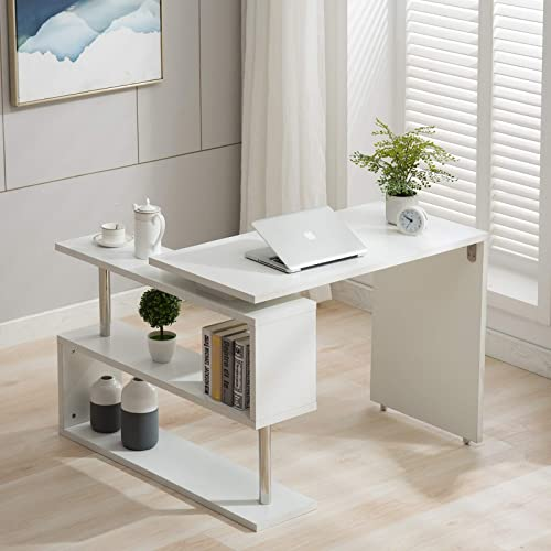 Modern Rotating Desk L-Shaped PC Table Swivel Corner Computer Desk Laptop Workstation W/2-Tier Large Storage Bookshelve