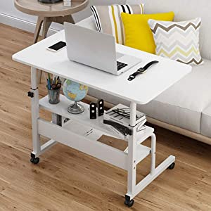 Lifting Computer Desk, Bedside Mobile Notebook Laptop Table, Movable Desk with 2 Layers Storage Bookcase, Lazy Table for Eating on Bed, Study Workstation Cart (23.7x15.8x27.2-35.5in, White)