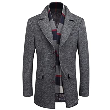 e47e872bf6df2 Men`s Lapel Woolen Trench Coat with Detachable Scarf Single Breasted Long Coat  Jacket