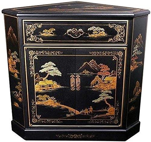 Oriental Furniture Japanese Corner Cabinet – Black Landscape