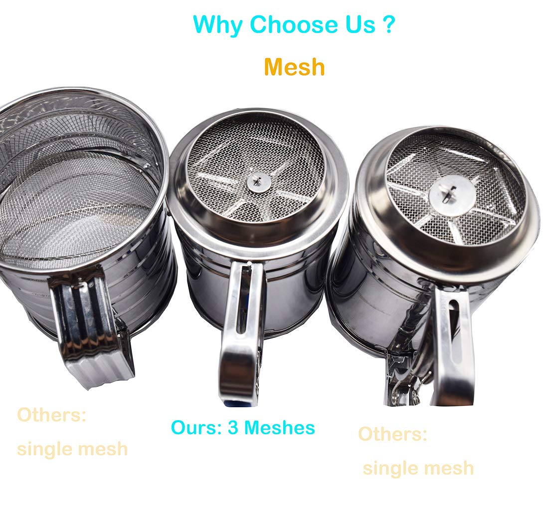 Kitchen aid Flour Sifter One Hand with 3 sifter meshes 3 Cup for Baking by YongLy (Image #7)