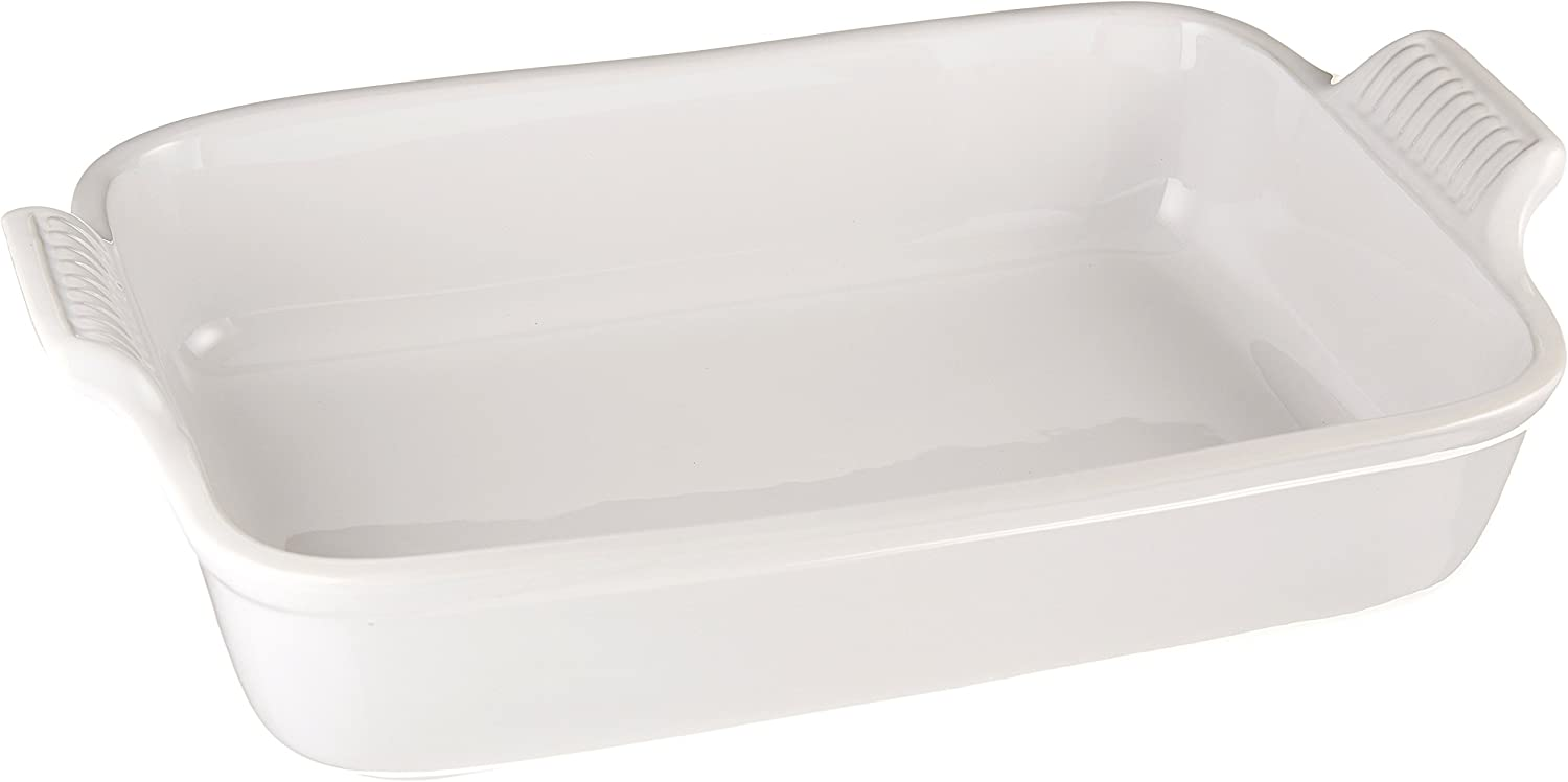 Le Creuset PG0700-3216 Heritage Stoneware Rectangular Dish, 12-by-9-Inch, White