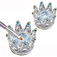 Nail Art Dappen Dish 2 in 1 Glass Dish for Nail Acrylic Liquid Powder–Nail Crystal Bowl/Glass Nails Cup/Nails Pen Holder…