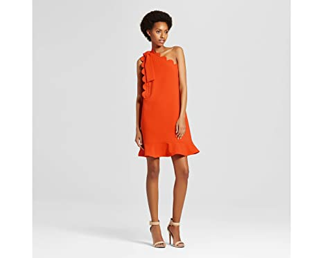 4f246f13804b7 Victoria Beckham for Target Women s Orange One Shoulder Dress with Bow and Scallop  Trim size extra