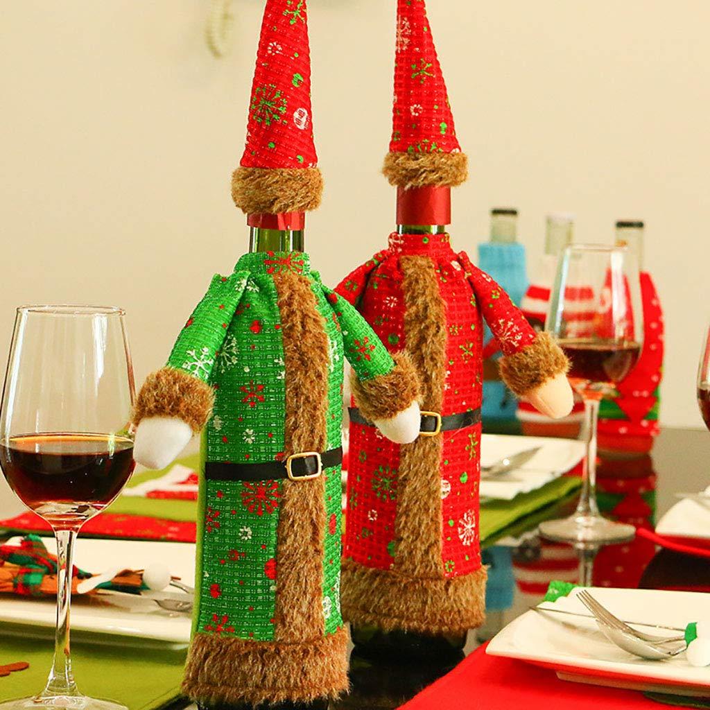 LXJ-KLD Cubierta De La Botella De Vino Vino Vino De Navidad con Sombrero para Cerveza Botellas De Agua Decoración De La Mesa Decoración Fiesta Fiesta Regalo, Juego De 2,A 7572b2