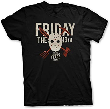Friday The 13th - Viernes 13 The Day Everyone Fears T-Shirt Camiseta T Shirt - Original con Licencia Oficial Horror: Amazon.es: Ropa y accesorios