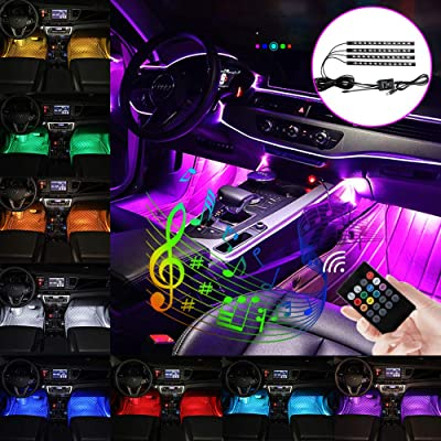 Teguangmei Car LED Strip Lights 4Pcs 48LED USB Port Multicolor Music Car Interior Atmosphere Lights for Car TV Home Under Dash Lighting Kit with Sound Active Function and Wireless Remote Control: Automotive [5Bkhe2002656]