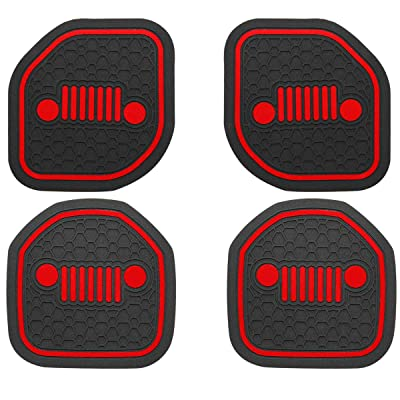 US-LXC Auto Cup Holder Coaster Insert: an Interior Accessory Compatible with Sport & Rubicon of (2020 2020 Jeep Wrangler JL JLU & 2020 Gladiator JT),or A Car Liner Mat Pad Cushion (4-PCS a kit)(Red): Automotive