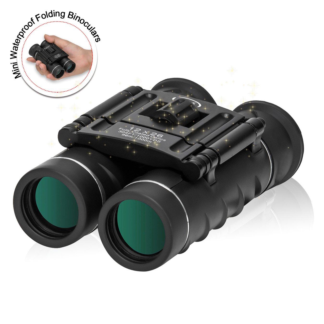 Mini Waterproof Folding Binoculars (12x26) High Powered Binocular with Weak Light Night Vision Clear Bird Watching ZOMAKE 10*26