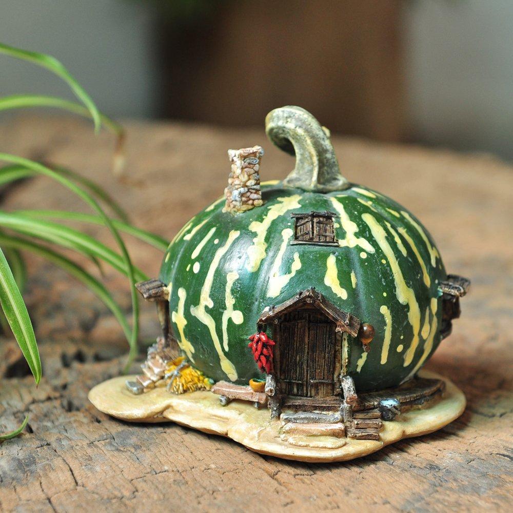 Top Collection Miniature Fairy Garden and Terrarium Green Gourd Fairy House Statue