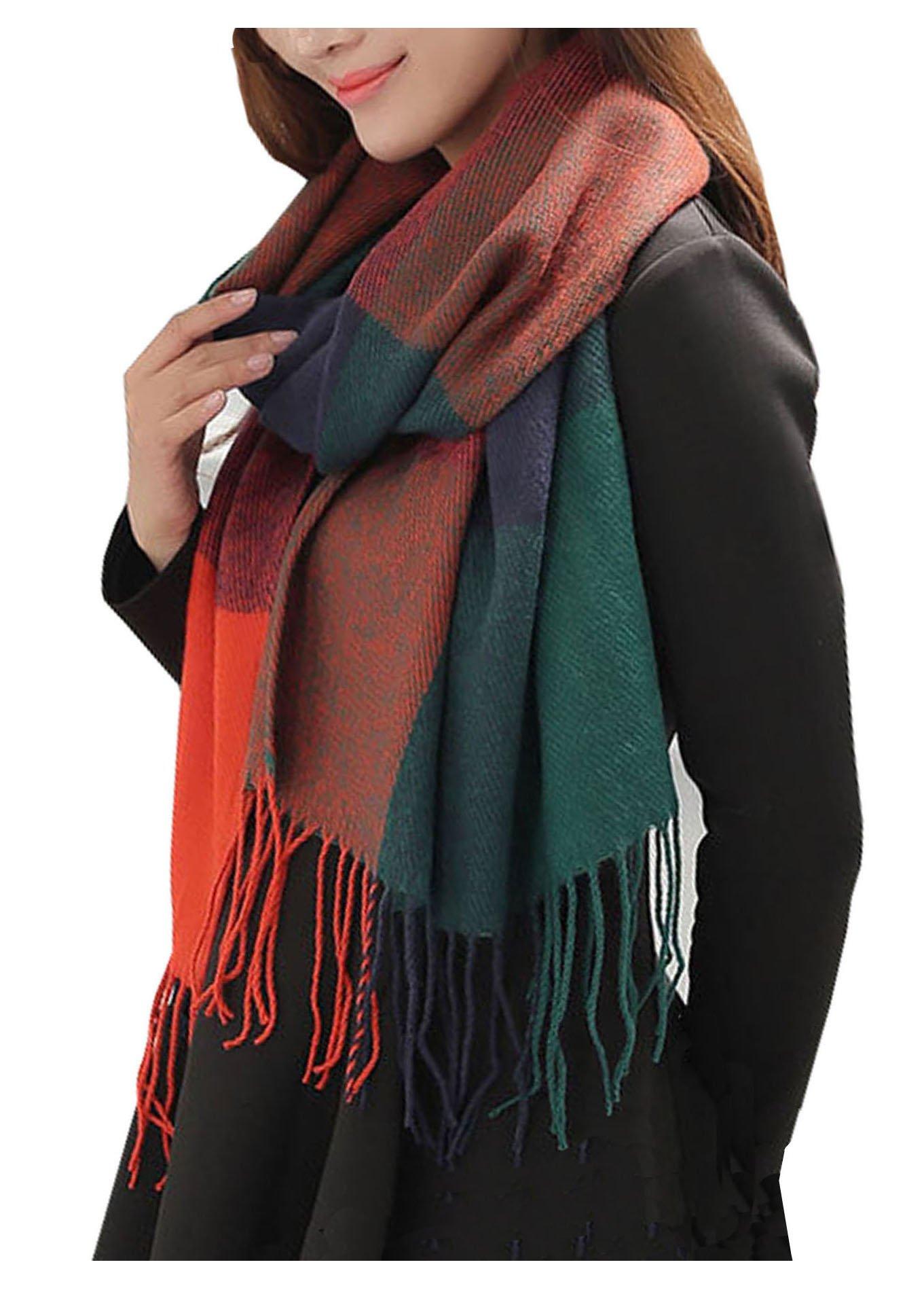 Wander Agio Women's Fashion Long Shawl Big Grid Winter Warm Lattice Large Scarf Orange Blue by Wander Agio