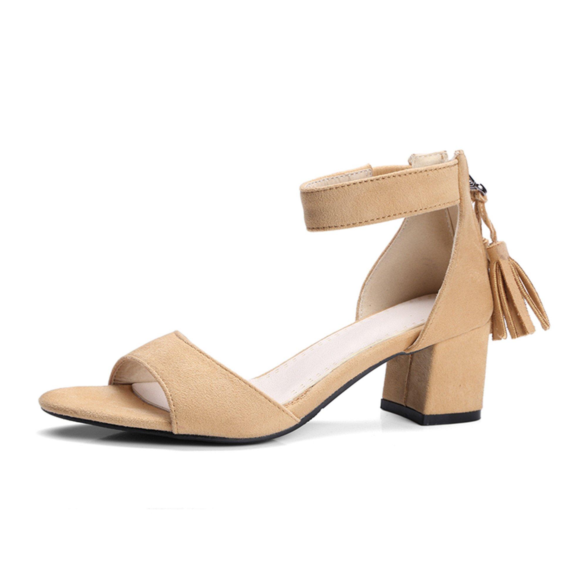 Yaheeda Elastic Ankle Strap Kitten Heel-Strappy Block Heel-Cute Low Sandal-Faux Leather Vegan