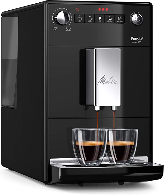 Melitta Purista F230 102, Cafetera Molinillo Silencioso, 15 Bares, Café en Grano, Limpieza Automática, Personalizable, Negro, 1450 W