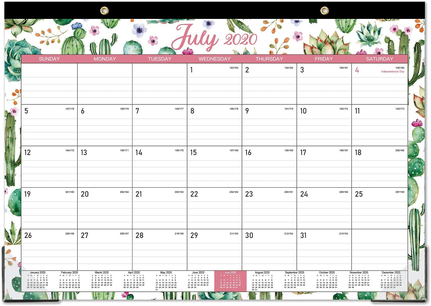 "2020-2021 Desk Calendar - 18 Months Desk Calendar, 17"" x 12"", Monthly Desk or Wall Calendar, July 2020 - December 2021, Large Ruled Blocks Perfect for Planning and Organizing for Home or Office"