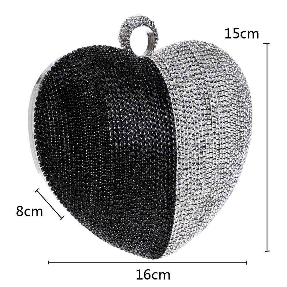 YUKILOCC Womens Clutch Purse Diamond Heart-shaped Evening Shoulder Messenger Bag