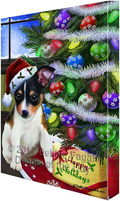 CANVAS Christmas Tree with Presents and Toys Art print POSTER