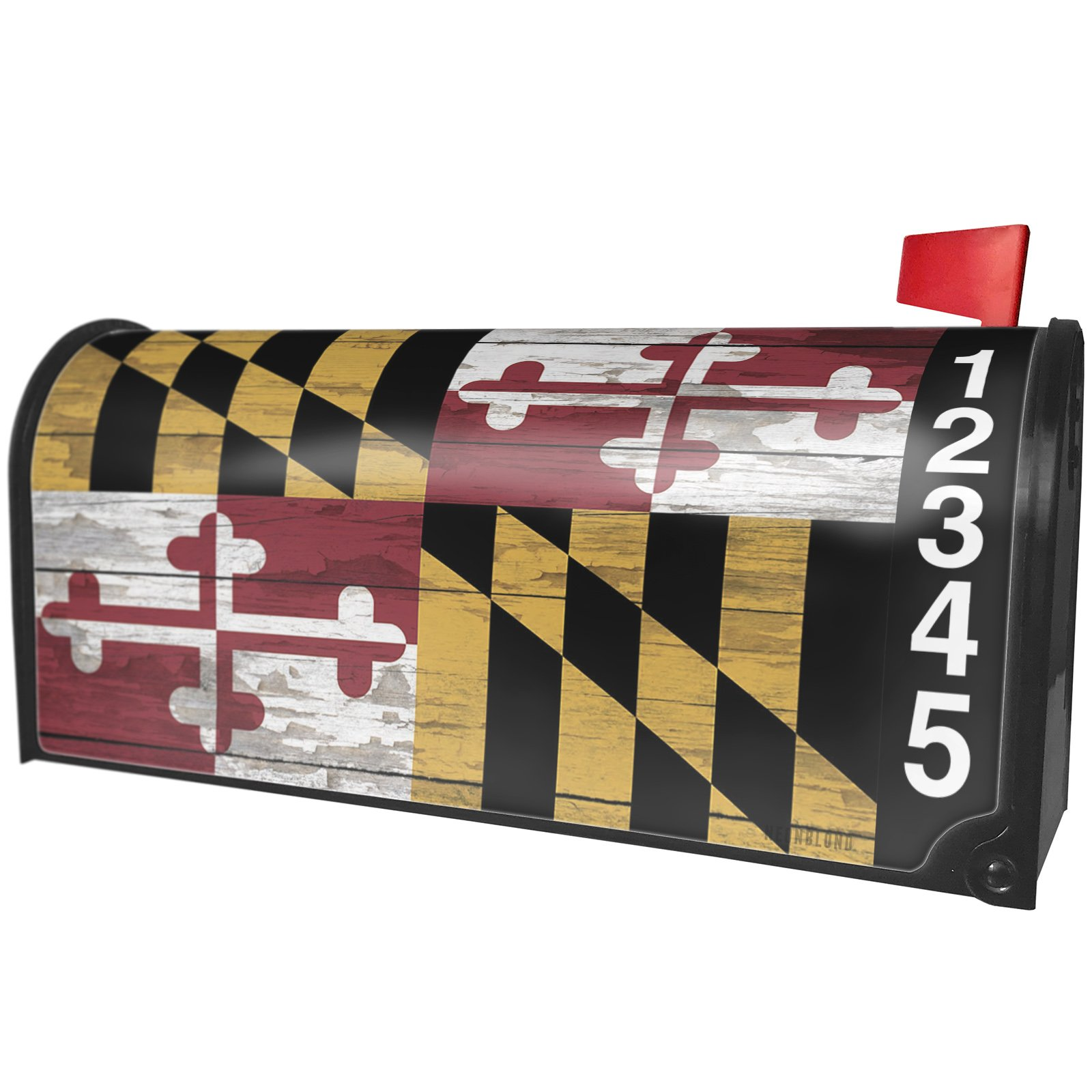 NEONBLOND Flag on Wood Maryland Region: America (USA) Magnetic Mailbox Cover Custom Numbers