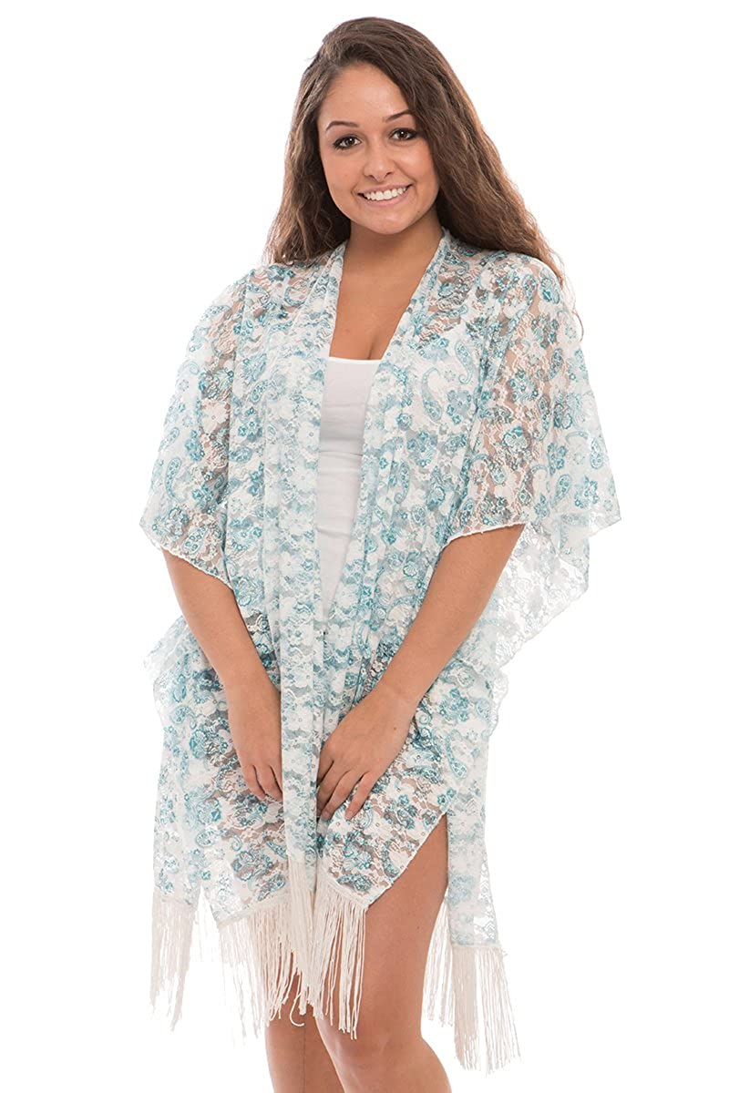 c8a160b22e BYOS Womens Lightweight Allure Printed Lace Open Front Kimono Cardigan Beach  Coverup W  Fringes