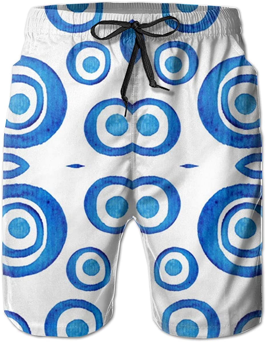WMDJEG Blue Circles Mens Summer Beachwear Sports Running Swim Board Shorts Mesh Lining
