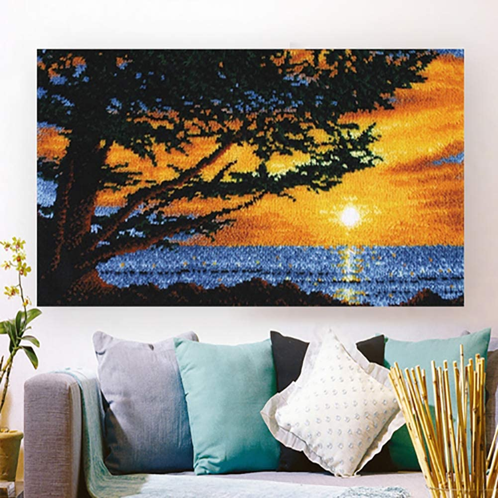 Sunset Hook Kit Carpet Tapestry Embroidery Needlework Craft Home Decoration Gifts for Kids and Adults 40X24 Inch,Natural Latch Hook Kits