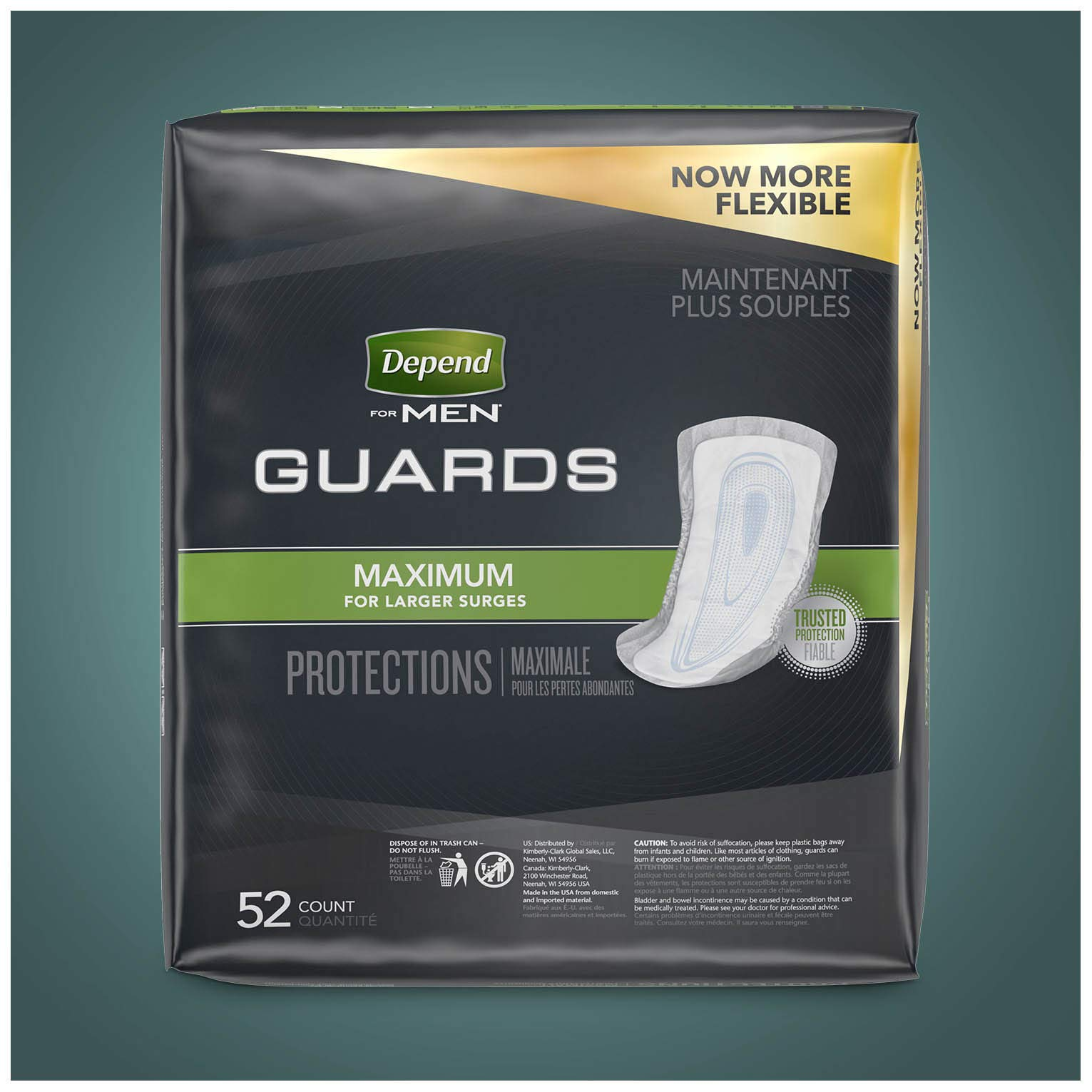 Depend Incontinence Guards for Men, Maximum Absorbency, 2 Packs of 52, 104 Total Count (Packaging May Vary) by Depend