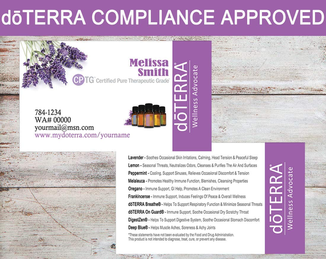 Essential Oil Business Cards doTERRA Business Cards Compliance Approved