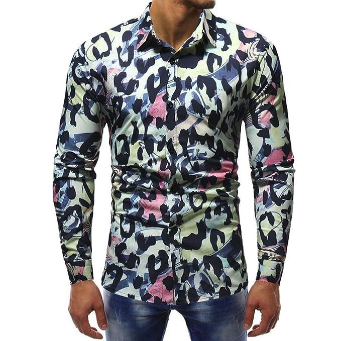 Blusa Impresa para Hombre de la Manera Camisas Ocasionales de Manga Larga Slim Tops