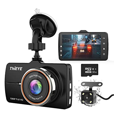 """ThiEYE Dash Cam Front and Rear Car Camera Dual Dashcam FHD 1080P 3.2"""" IPS Screen with SD Card 170°Wide Angle, Loop Recording, WDR, Night Vision, G-Sensor : Electronics"""