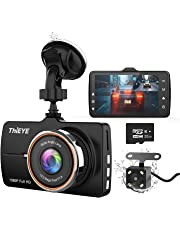"""$45 » ThiEYE Dash Cam Front and Rear Car Camera Dual Dashcam FHD 1080P 3.2"""" IPS Screen with SD Card 170°Wide Angle, Loop Recording, WDR,Night Vision, G-Sensor"""