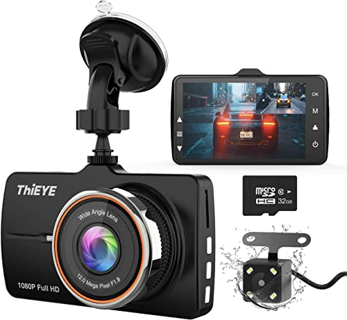 ThiEYE Dash Cam Front and Rear Car Camera Dual Dashcam FHD 1080P 3.2 IPS Screen with SD Card 170 Wide Angle, Loop Recording, WDR,Night Vision, G-Sensor