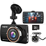 "ThiEYE Dash Cam Front and Rear Car Camera Dual Dashcam FHD 1080P 3.2"" IPS Screen with SD Card 170°Wide Angle"