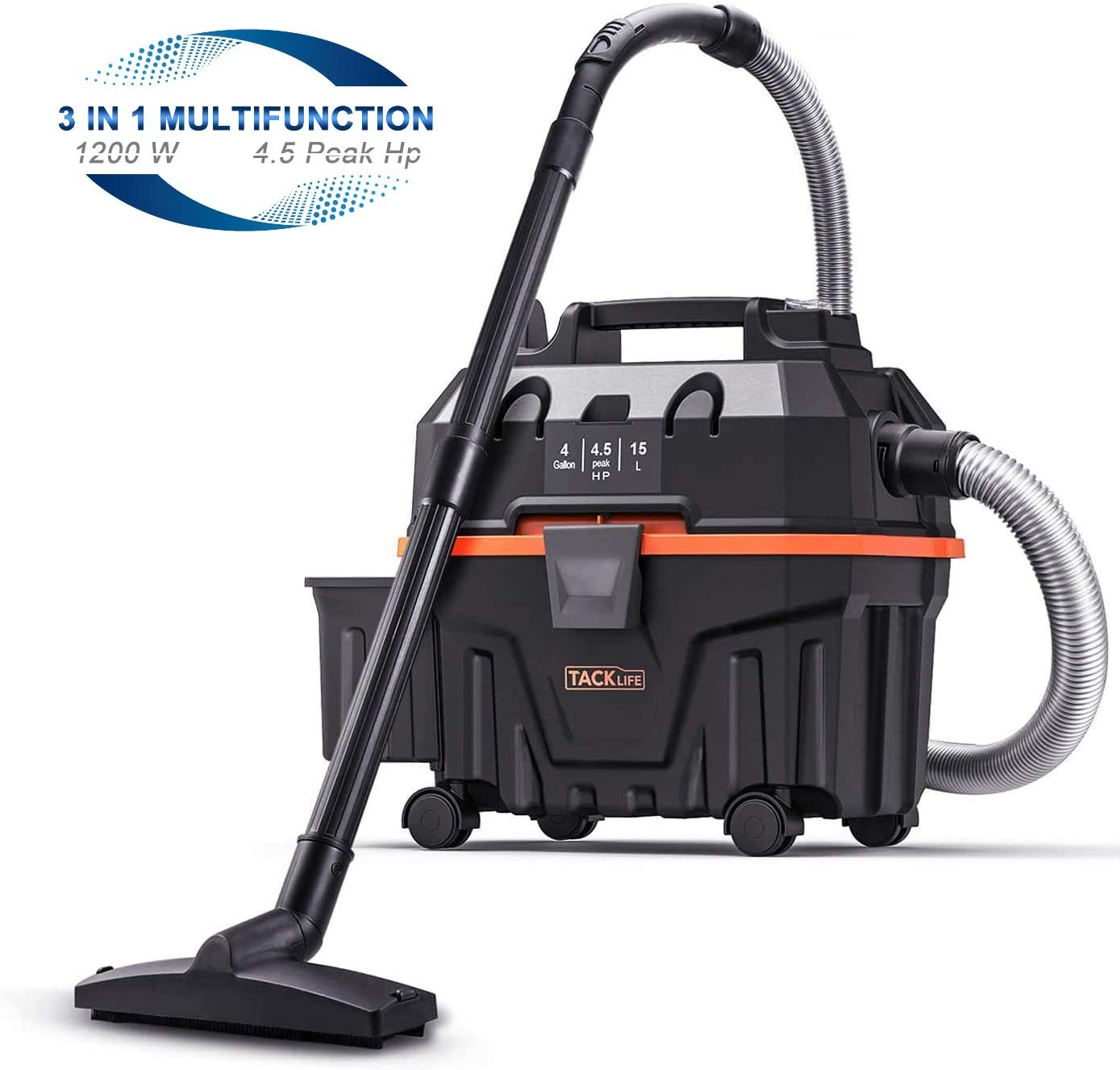 TACKLIFE Wet and Dry Vacuum, Shop Vac, 4.5 Peak Hp 4 Gallon Bagless, 1200W, Wet Suction/Dry Suction/Blowing 3 in 1 Function, Suitable for Job Site,Garage,Basement,Van,Workshop,Vehicle